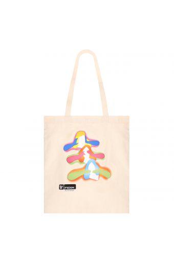 Weiße Tasche für Damen mit Grafik von Marco Lodola