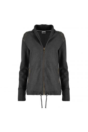 Lurex sweatshirt featuring studs, zip pockets and a drawstring