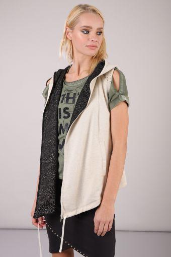 Women's lurex vest with studs