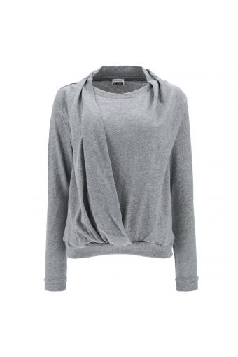 Long-sleeve t-shirt with a draped wrap-style front