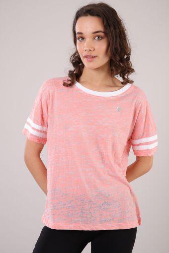 Women's burnout cotton t-shirt with contrast bands