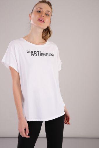 Camiseta de cuello redondo de mujer con estampado delantero y mangas con corte oblicuo