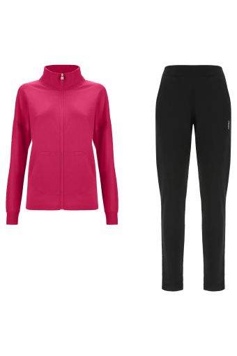 Tracksuit in French terry with zip and pockets