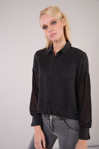L/S blouse in cupro with cuff