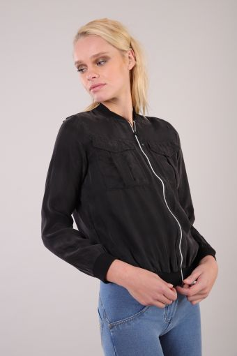 Zip sweatshirt in cupro and viscose with pockets