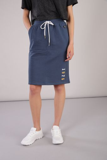 Above-the-knee cotton skirt with a drawstring