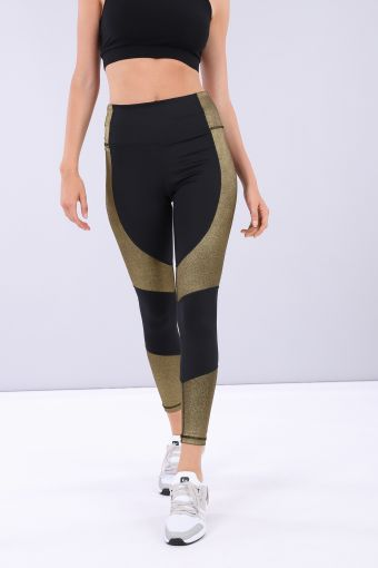 Women's ankle-length shaping fitness leggings with gold inserts