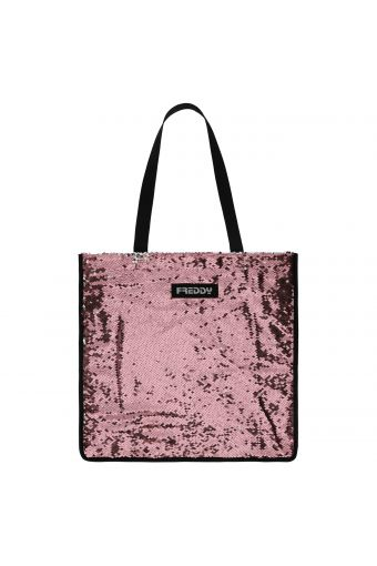 Shopper covered in sequins with contrasting handles