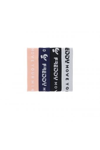 Assorted elastic bracelets with a logo - 4 pack