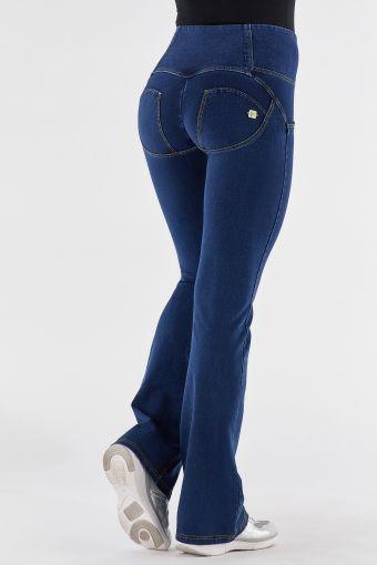 High-waist denim-effect WR.UP® flare trousers