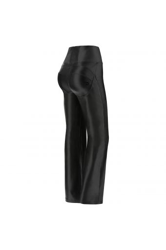 Flared shaping WR.UP® trousers in shiny black faux leather