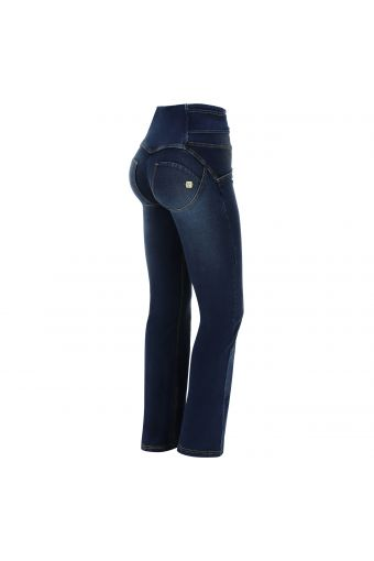 Flared denim WR.UP® jeggings with a knotted belt
