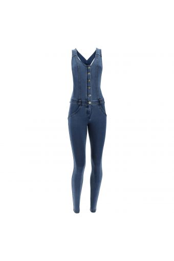 Skinny WR.UP® overalls in denim-effect cotton
