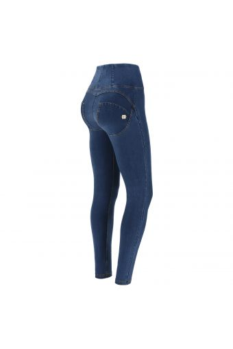 High-waisted WR.UP® shaping trousers in environmentally-friendly dark denim