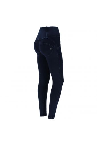 High-waisted WR.UP® shaping jeans with buttons and micro studs