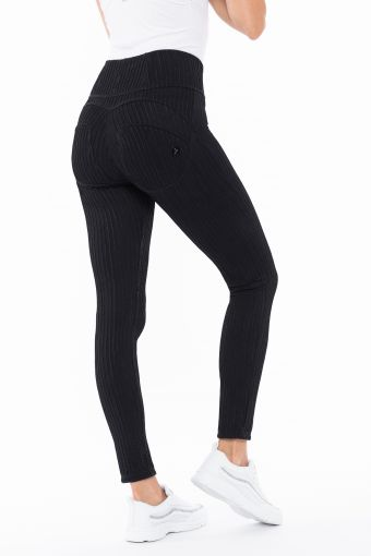 High-waisted shaping WR.UP® trousers in striped jacquard
