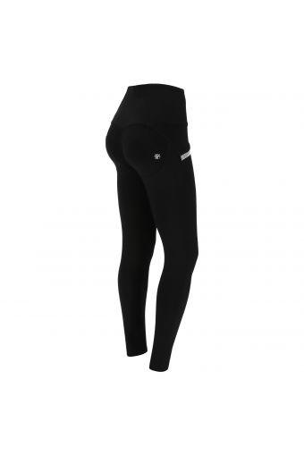 Pantalón push up WR.UP® negro cintura alta con micro strass