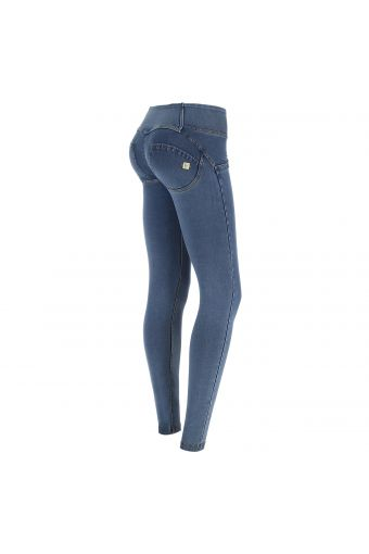 WR.UP® mid-rise light wash denim-effect trousers