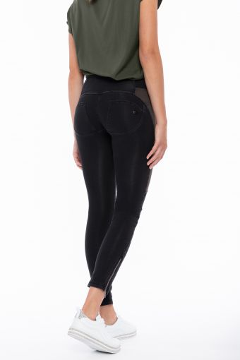 Medium-waisted WR.UP® jeggings with army green maxi panels