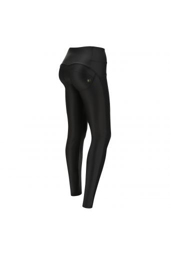 Black faux leather WR.UP® shaping trousers with black and gold details