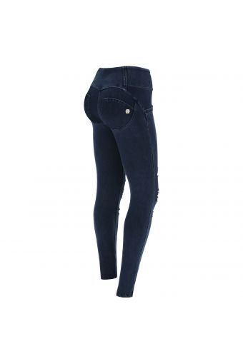 Medium-waist WR.UP® shaping jeans in ripped denim
