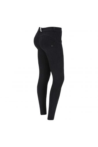 Black shaping WR.UP® trousers with tone-on-tone raised stripes