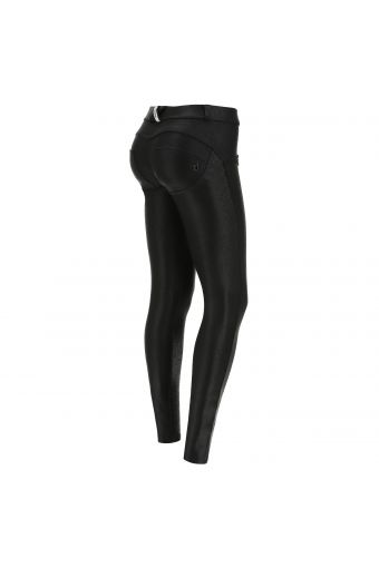 Black skinny fit WR.UP® shaping trousers in coated interlock fabric