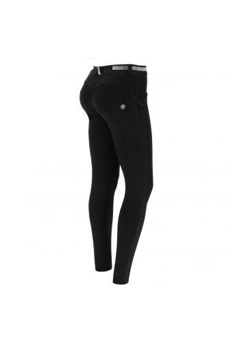 Jeans push up WR.UP ® en denim noir décoré de micropaillettes