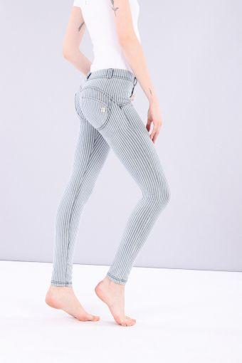 Made-in-Italy Striped shaping WR.UP® denim-effect jeggings