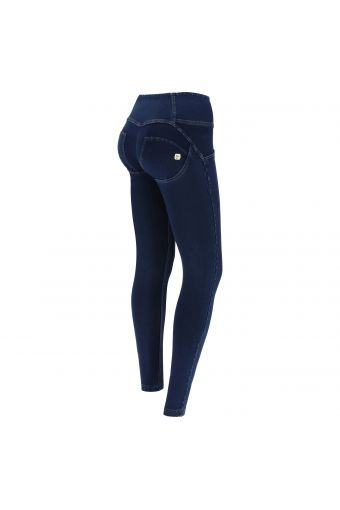 High-waist dark denim WR.UP® shaping trousers with buttons