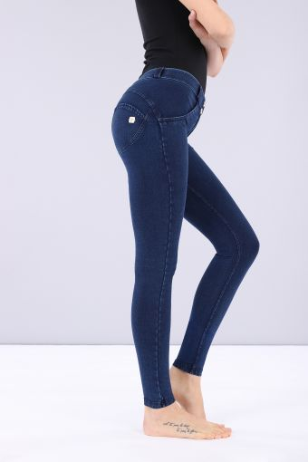 WR.UP® regular-rise super skinny trousers in dark jersey denim