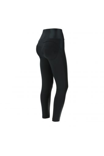 Ankle-length WR.UP® shaping super skinny trousers with faux leather inserts