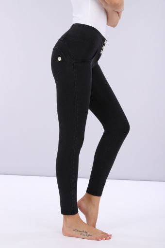 Denim-effect ankle-length mid-rise WR.UP® super skinny trousers
