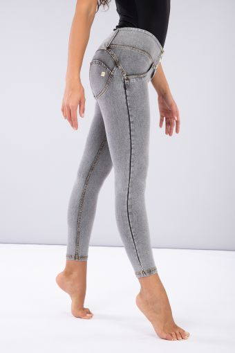Mid-rise ankle-length WR.UP® super-skinny trousers in denim-effect fabric