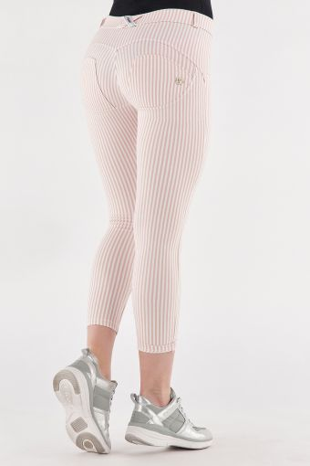 Pastel stripe ankle-length super skinny WR.UP® shaping trousers