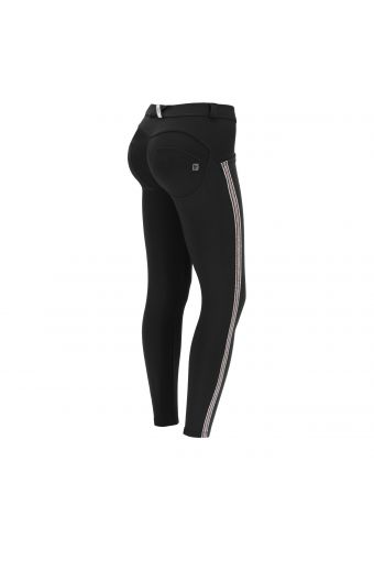 Black ankle-length WR.UP® shaping trousers with glitter bands