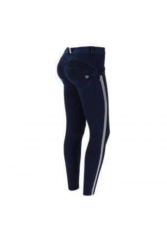 Jeans push up WR.UP® 7/8, coupe skinny avec bandes latérales en micropaillettes