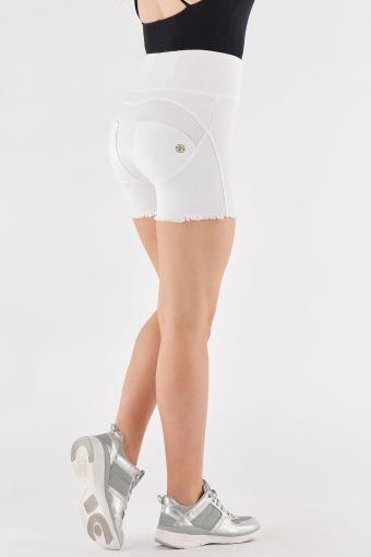 Colourful high waist WR.UP® denim shorts with a frayed hem