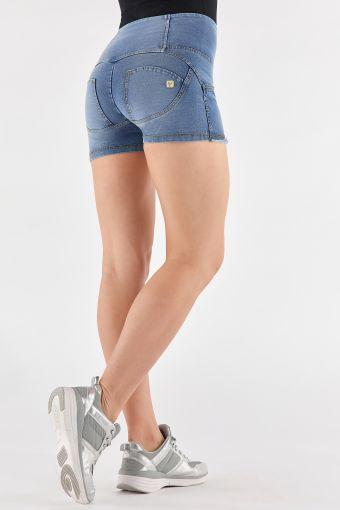 Short en jean WR.UP® avec taille haute et bas effiloché