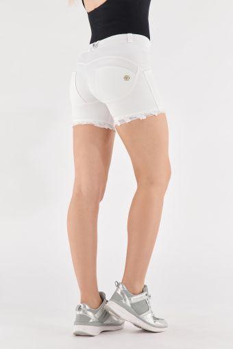 White denim WR.UP® jean shorts with a frayed hem