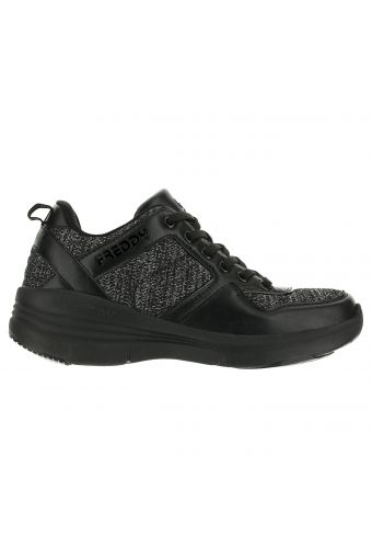Walking sneakers in glittery mesh and faux leather