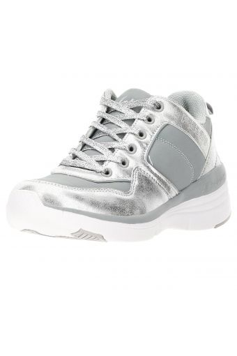 Women's silver faux leather and performance fabric gym shoes with a wedge sole
