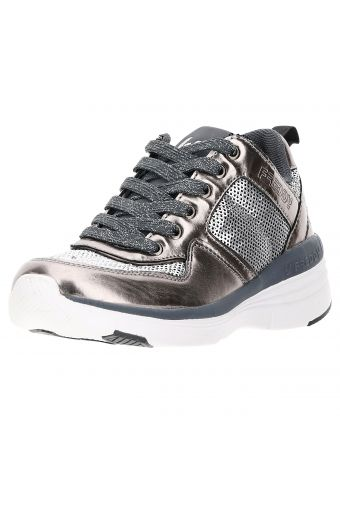 Women's gym shoes with sequin inserts and a wedge sole