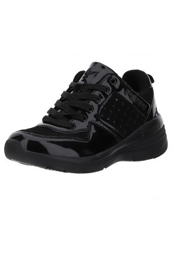 Patent/faux leather wedge sole trainers with rhinestones