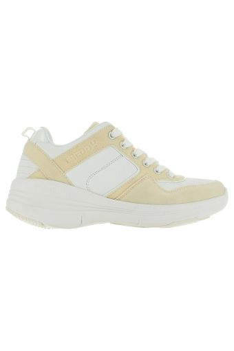 Two-tone walking sneakers with mesh and leather inserts