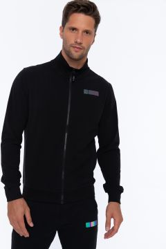 High-neck sweatshirt with a full-length zip and a small print on the back hip