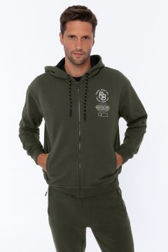 Comfort-fit zip-front sweatshirt with a decorated hood