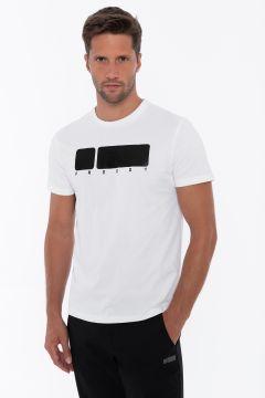 T-shirt regular fit bianca con maxi logo nero lucido