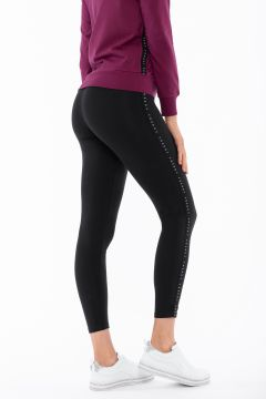 Leggings with a decorated black lateral band