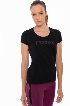 Short-sleeve stretch t-shirt with a rubber Freddy logo
